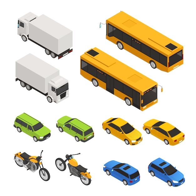 Isometric colored city transport icon set with different truck bus cars in two sides vector illustration Free Vector