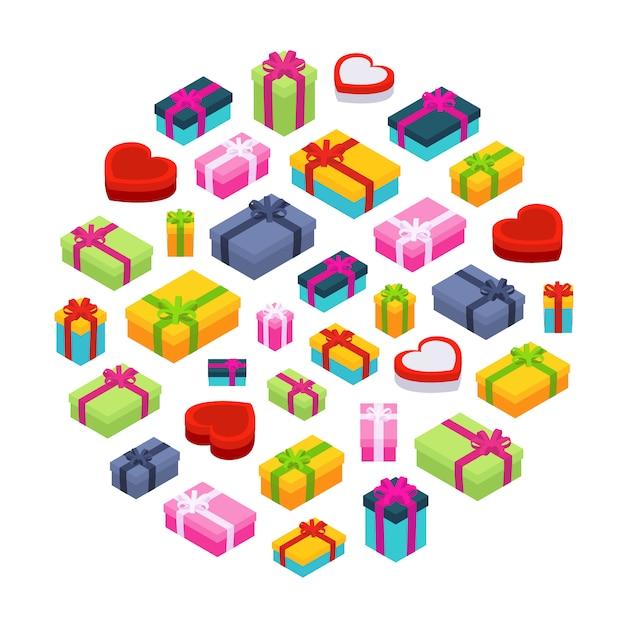 Isometric colored gift boxes Premium Vector