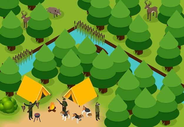 Isometric colored hunting composition Free Vector