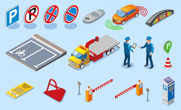 Isometric colored parking icon set Free Vector