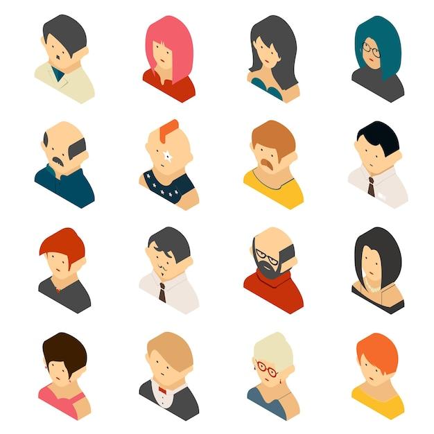 Изометрические цветные значки пользователей, изолированные на белом фоне. мужчины и женщины, мальчики и девочки в 3d Бесплатные векторы