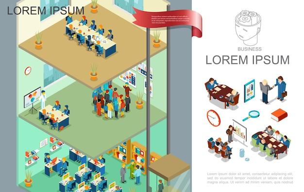 사람들과 아이소 메트릭 다채로운 사업 구성은 다른 층 그림에서 비즈니스 회의 프레젠테이션 및 교육에 참여 무료 벡터