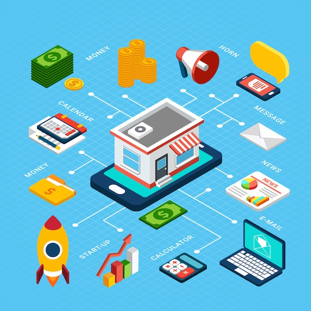 Isometric colorful composition with various tools for digital marketing on blue 3d Free Vector