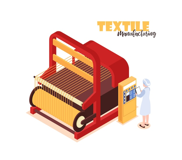 Isometric colorful concept with textile factory worker standing near big weaver loom 3d Free Vector