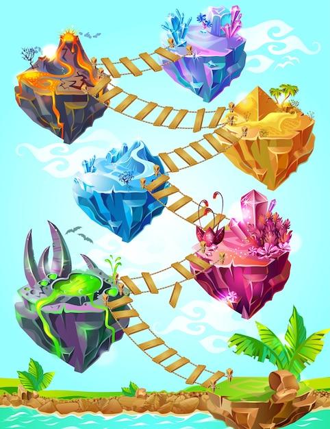 Изометрические красочные игровые острова шаблон Бесплатные векторы