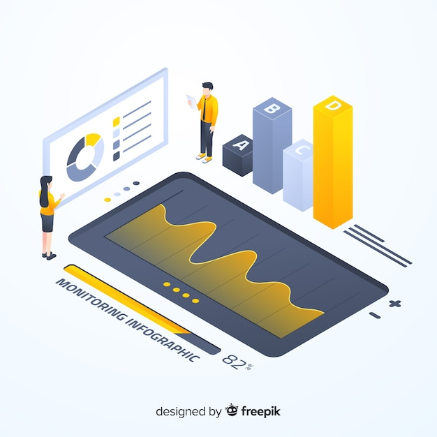 Isometric colorful monitoring infographic template Free Vector