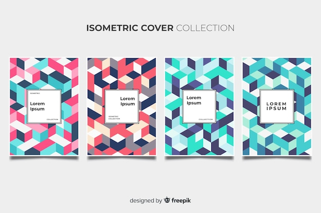 Isometric colorful pattern brochure pack Free Vector