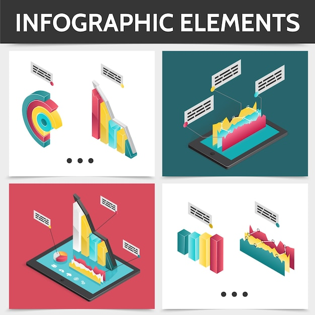 Isometric colorful square infographic concept with 3d business diagrams bars charts and graphs illustration Free Vector
