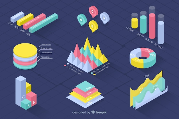 Isometric colorful statistic template collection Free Vector