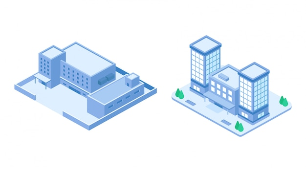 Isometric company building set Premium Vector