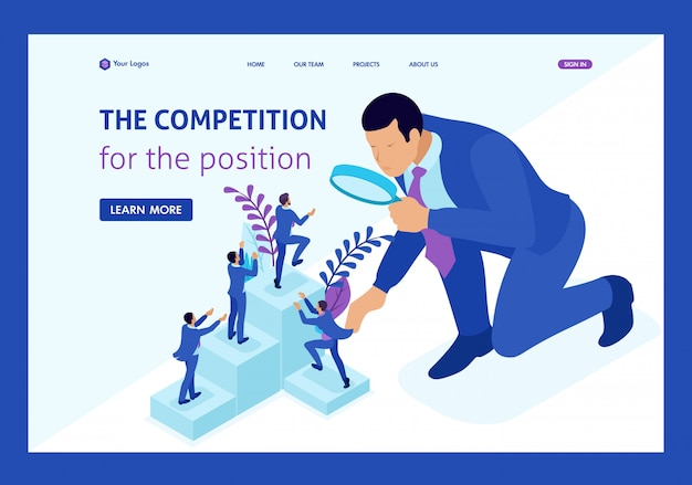 Isometric competitive struggle for career growth, businessman looks at candidates through a magnifying glass. website template landing page Premium Vector