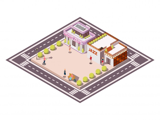 Isometric composition of city square bounded by carriageways with clubhouse jazz buildings garden beds and people vector illustration Free Vector