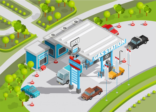 Isometric composition of gas station Free Vector