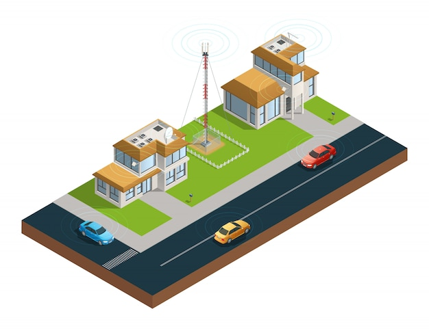 Isometric composition of town street with devices in houses tower and cars connected Free Vector