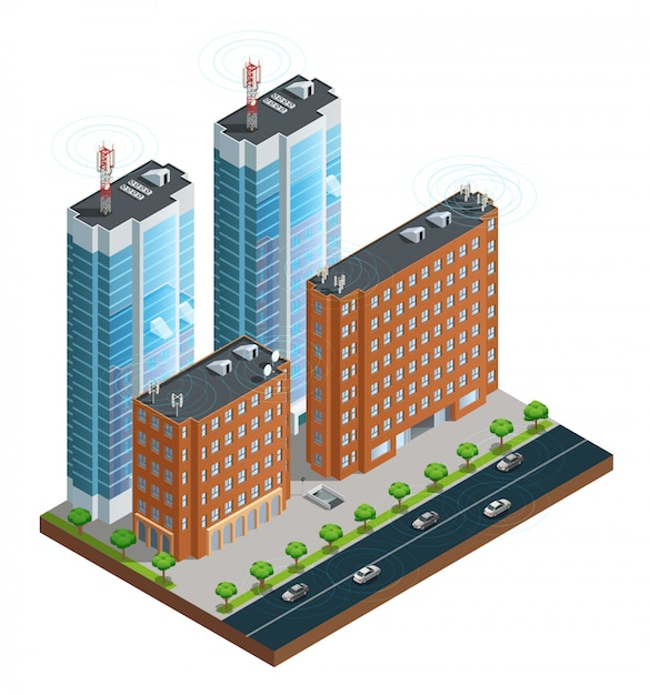 Isometric composition of town street with devices in houses tower Free Vector