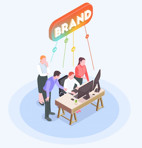 Isometric composition with advertising agency employees brainstorming in office 3d Free Vector