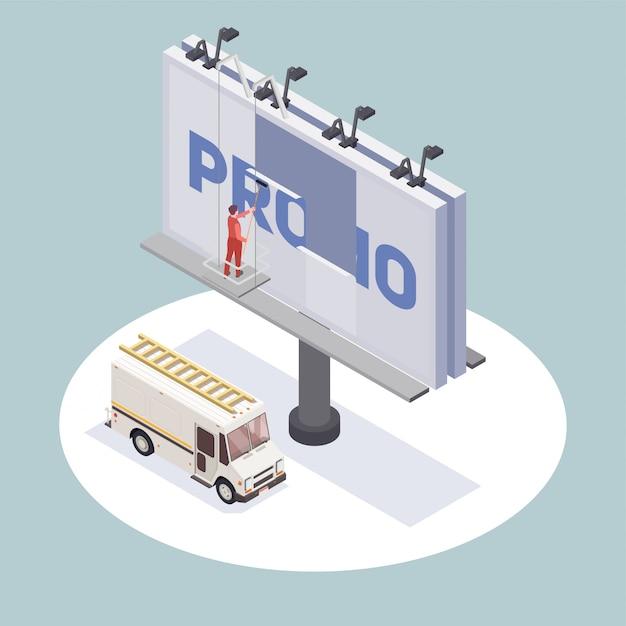 看板3 dを変更する広告代理店の労働者と等尺性組成物 無料ベクター
