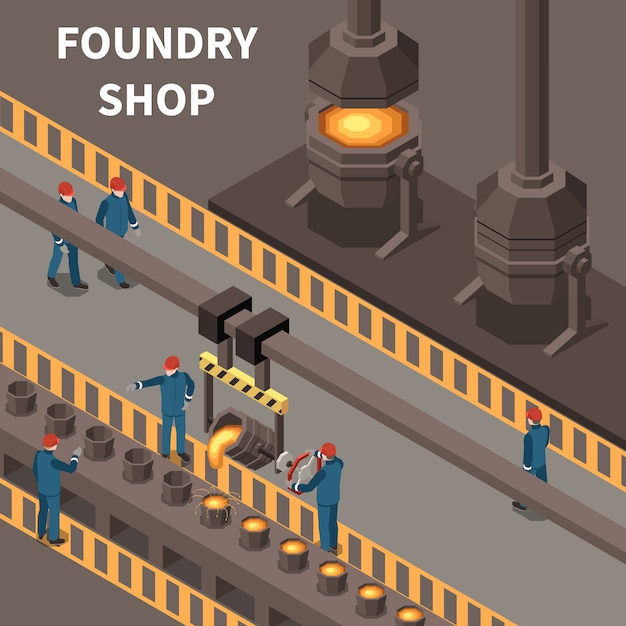 Isometric composition with foundry workers and metal industry equipment 3d vector illustration Free Vector