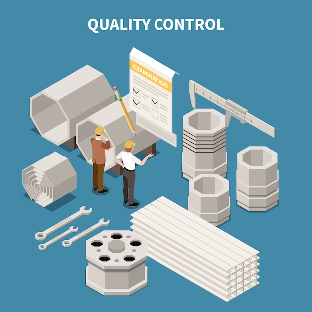 Isometric composition with metal industry products and workers doing quality control 3d vector illustration Free Vector