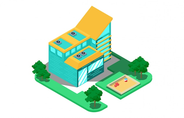 Isometric composition with a modern two-storey house Premium Vector