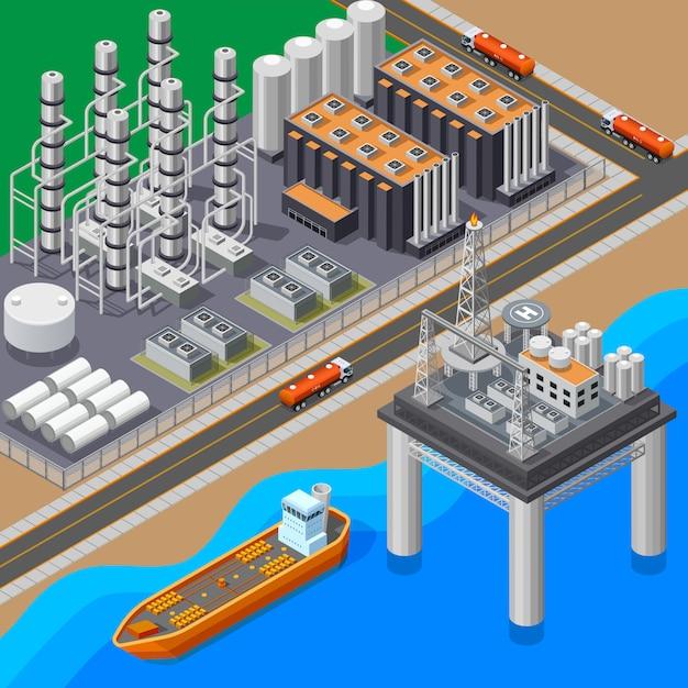 石油精製タンカーと海プラットフォーム3 dベクトルイラスト等尺性組成物 無料ベクター