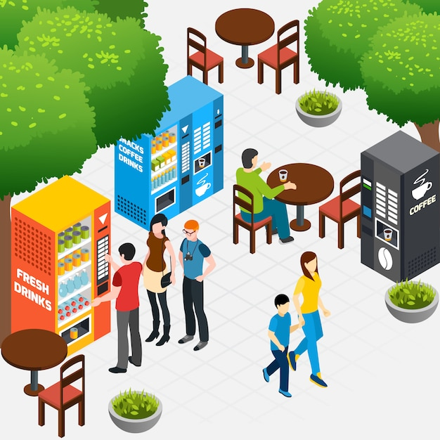 Isometric composition with outdoor cafe and people buying coffee and snacks in vending machines 3d vector illustration Free Vector