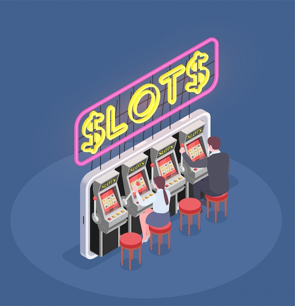 Isometric composition with people playing slot machines in casino 3d Free Vector