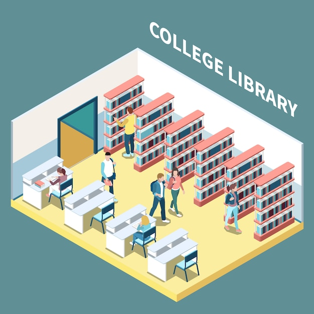 Isometric composition with students studying in college library 3d vector illustration Free Vector