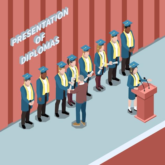 Изометрическая композиция с выпускниками вузов на вручении дипломов церемонии 3d векторная иллюстрация Бесплатные векторы