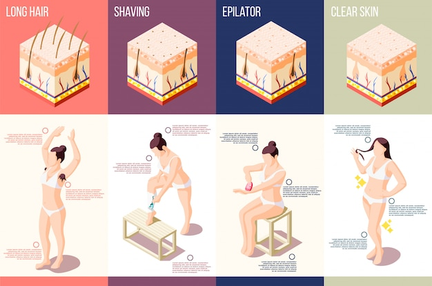 Isometric composition with woman doing different hair removal procedures 3d isolated Free Vector