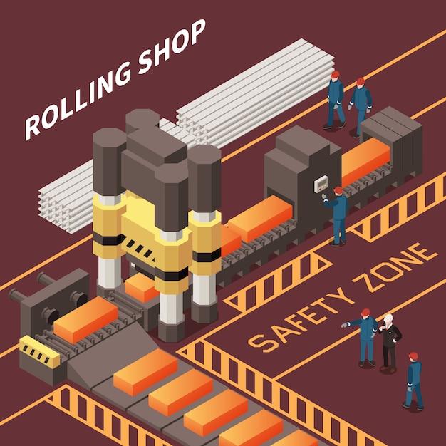 Изометрическая композиция с работниками в прокатном цехе в металлургическом заводе 3d векторная иллюстрация Бесплатные векторы