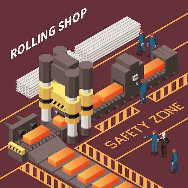 Isometric composition with workers in rolling shop in metal industry factory 3d vector illustration Free Vector