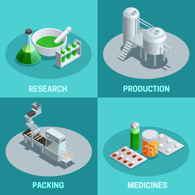 Isometric compositions of pharmaceutical production steps like research production packing and end product medicines vector illustration Free Vector