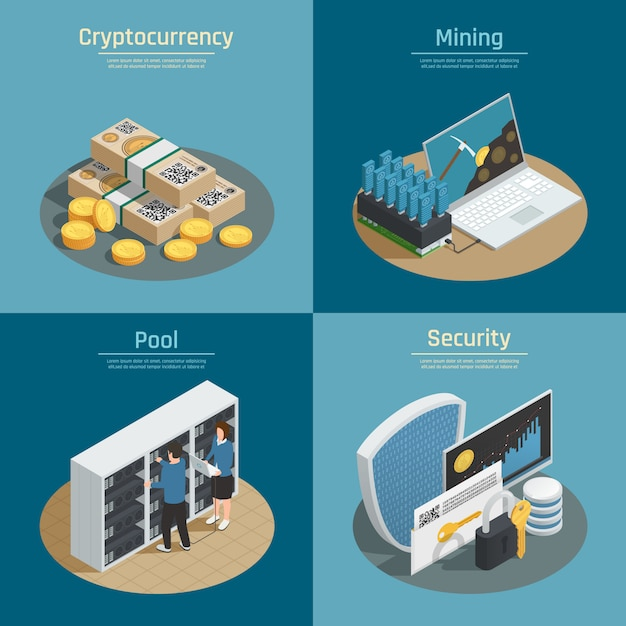 Isometric compositions with mining of cryptocurrency, coins and banknotes, pool of system users, security isolated Free Vector