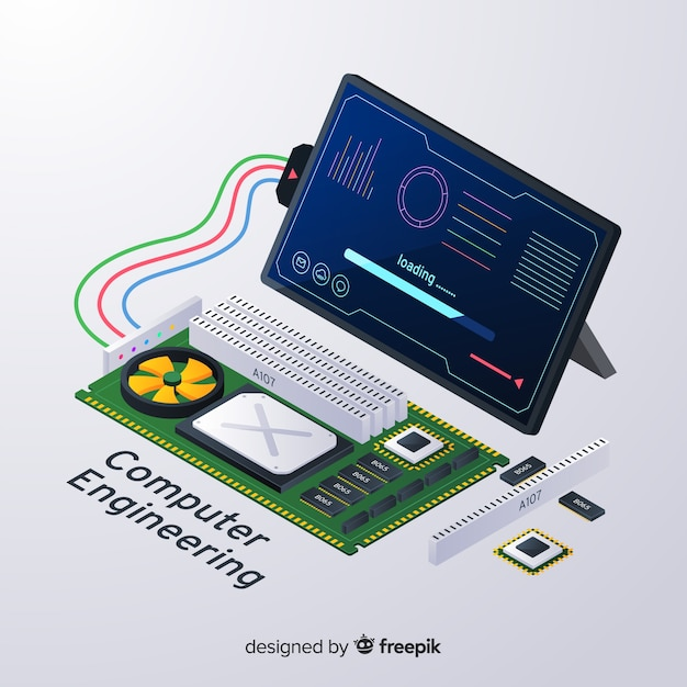 Isometric computer engineering background Free Vector