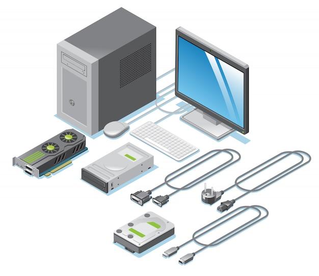Коллекция изометрических компьютерных деталей с монитором, видеокарта, кабели, провода, клавиатура, мышь, системный блок, изолированный Бесплатные векторы