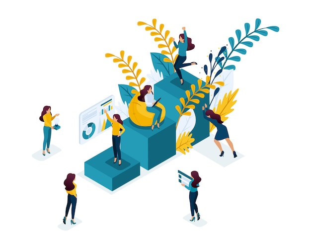 Isometric concept achievement of the goal, moving up the career ladder, self-education is your contribution to your future. concept for web Premium Vector