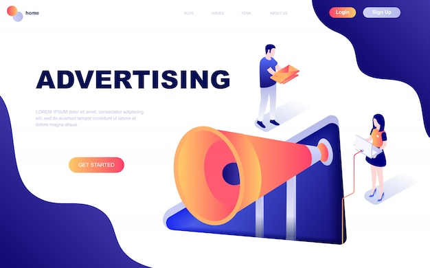 Isometric concept of advertising and promotion Premium Vector