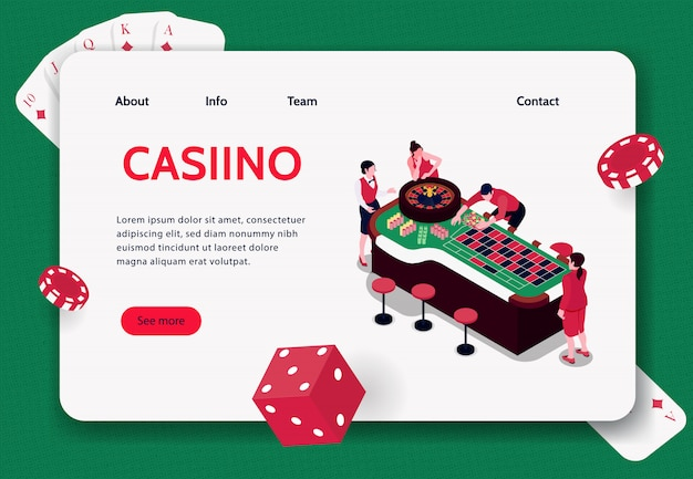 Isometric concept banner with people playing roulette in casino 3d  illustration Free Vector