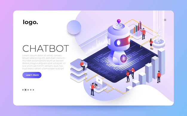 Изометрическая концепция чат-бота. сообщение машинного чата искусственного интеллекта посредством машинного обучения. иллюстрировать. Premium векторы
