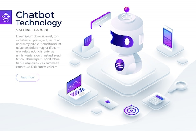 Isometric  concept chat bot technology. artificial intelligence machine chatting message by machine learning.  illustrate. Premium Vector