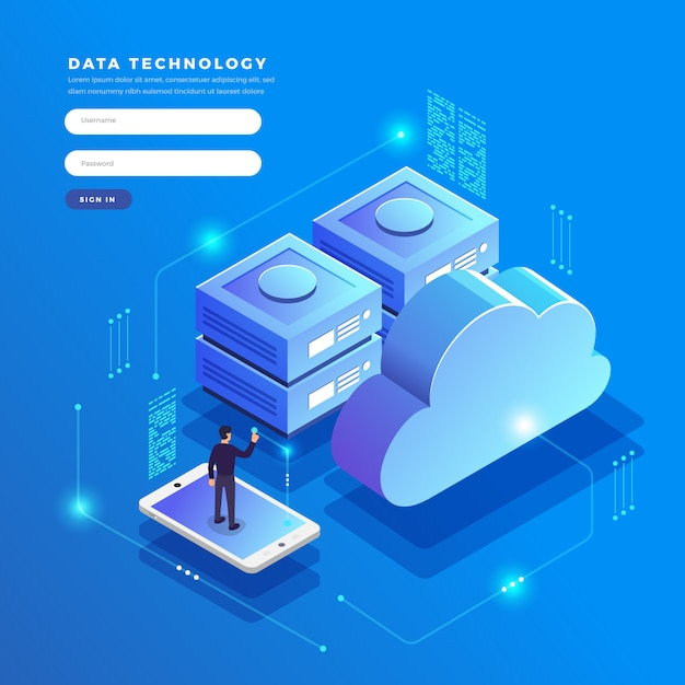 Isometric   concept cloud technology data transfer and storage. connecting information.  illustrations. Premium Vector