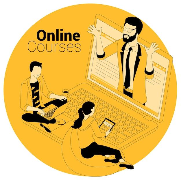 オンラインコース、教育、トレーニング、学習、ビデオチュートリアルのアイソメトリックコンセプト。 Premiumベクター