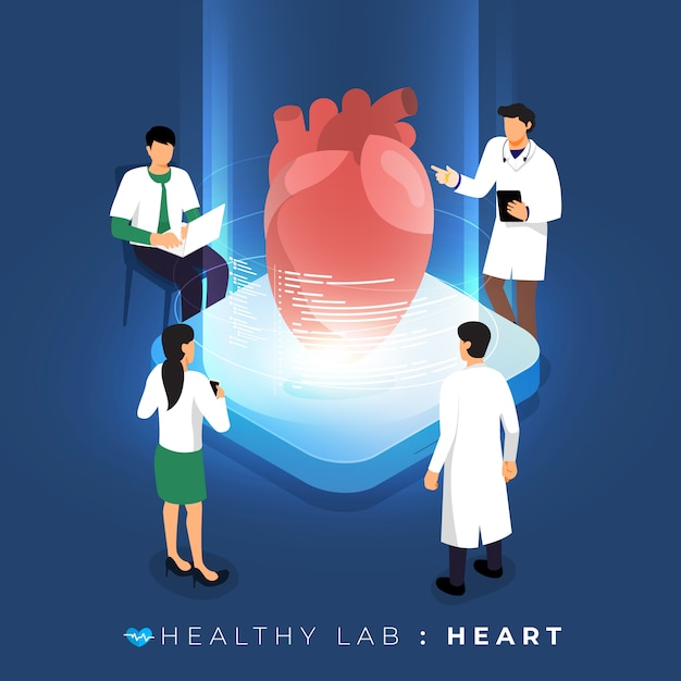 Isometric concept  lab via doctor analysis medical healthy about heart. teamwork education of science.  illustrate. Premium Vector