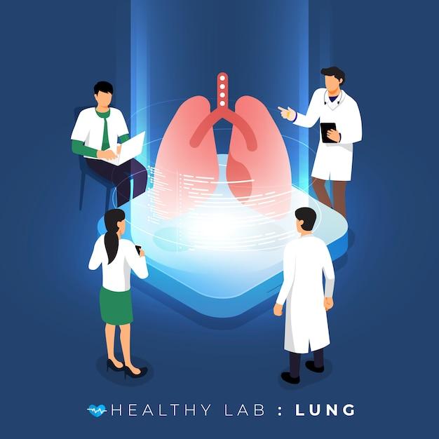 Лаборатория изометрической концепции через медицинский анализ здоровья легких. научное образование в команде. иллюстрировать. Premium векторы