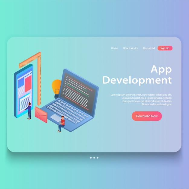Isometric concept of mobile app development Premium Vector