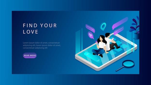 あなたの愛、交際、ソーシャルメディアを見つけるの等尺性の概念。バナーテンプレート Premiumベクター