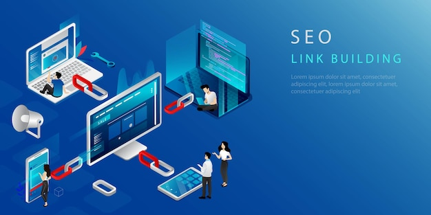 링크 빌딩, 서 마케팅 및 백 링크 전략의 아이소 메트릭 개념. 웹 사이트 방문 페이지. 사람들과 함께하는 디지털 마케팅. 인터넷 비즈니스 개발, 네트워킹 전략. 벡터 일러스트 레이 션. 프리미엄 벡터