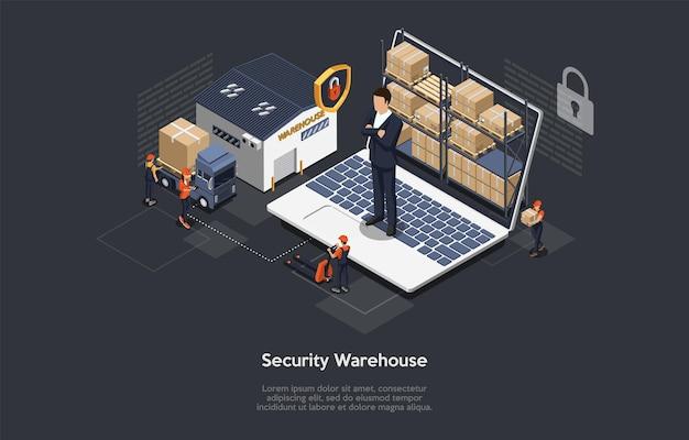창고 보안, 안전한 물류 배달 서비스 및 직원의 아이소 메트릭 개념. 프리미엄 벡터