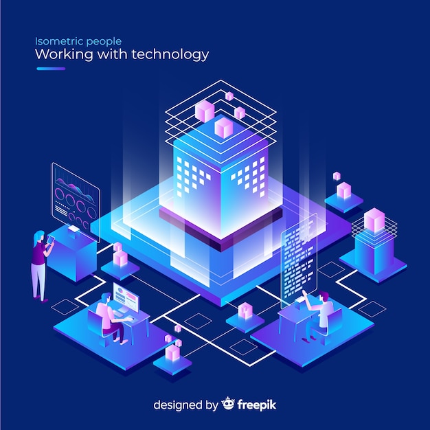 Isometric concept of people working with technology Free Vector